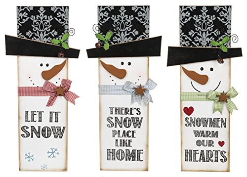 Ganz Country Christmas Snowman Wooden Signs -