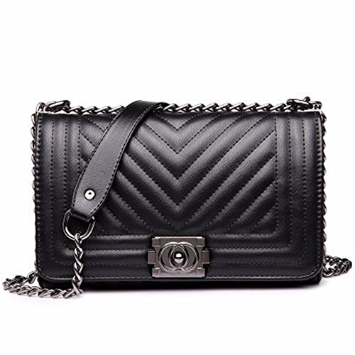 2018 Summer Europa y America nuevo Messenger Bag, Fashion Chain Bag, Ladies Casual Bolsa de hombro,Rojo grande Black Large