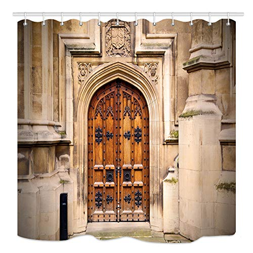 - DYNH Vintage Castle Door Shower Curtain, Parliament in London Old Church Door and Marble Antique Wall, Waterproof Fabric Bathroom Decor, Bath Curtains Accessories 12PCS Hooks, 69X70