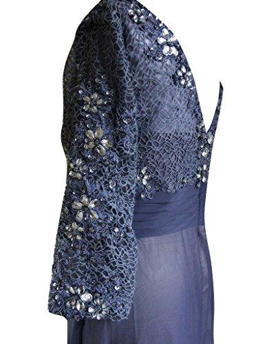 Tiefem Frauen Weiß HWAN Ausschnitt Reich Abendkleid langes mit rmeln der V Chiffon gwTxq8Pwd