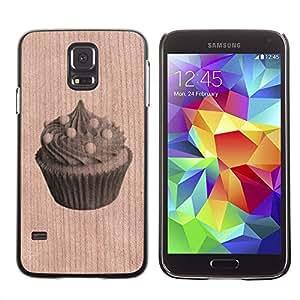 - Cupcake Muffin Sweet Baker - - Funda Delgada Cubierta Case Cover de Madera FOR Samsung Galaxy S5 I9600 G9009 G9008V BullDog Case