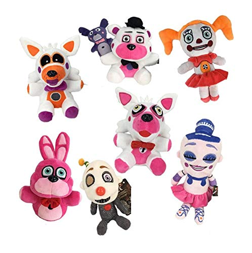PAPEO Set 7 FNAF Plushies 7.8 inch Big Plush Figure Toy Huggable Large Stuffed Toys Doll Gift Christmas Halloween Birthday Gifts Cute Collection Collectible Fazbear for Kids Adults]()