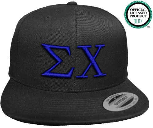 SIGMA CHI Flat Brim Snapback Hat Royal Letters / Sig Chi | Sigs | Fraternity Cap