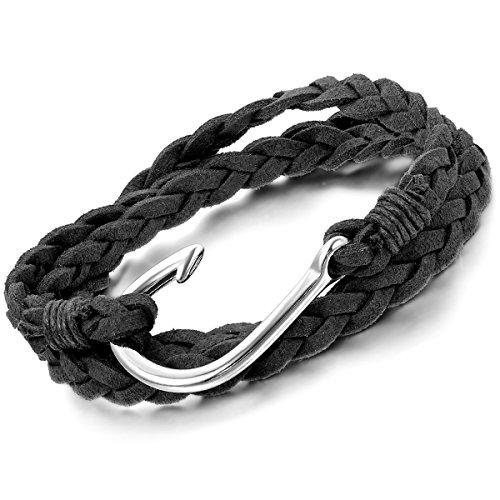 Flongo Men's Womens Biker Alloy Nautical Fish Hook Black Wrap Cuff Bracelet, 7.9 inch - Man Bracelet Fish Hook