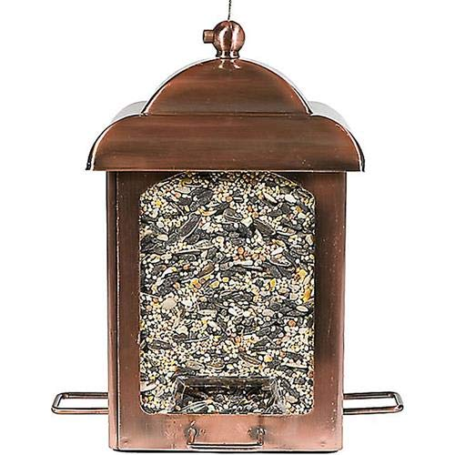 Perky-Pet 365 Antique Copper Lantern Feeder - Feathered Friends Glass Feeder