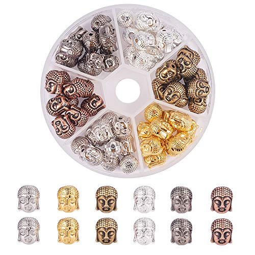 (PH PandaHall 60pcs 6 Color Alloy Buddha Head Beads Charm Connector Beads for Bracelet Necklace Earrings Jewelry Making Crafts)