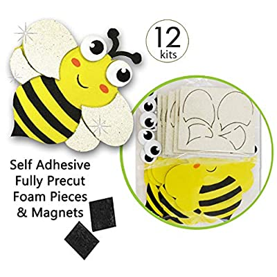 Bee Crafts for Kids Insect Magnet Craft Kits Self Adhesive Sticker Foam with Glitter Accents Spring Party Crafts Foam Bee Craft Supplies Bulk Value Craft Kits for Kids Bee Craft Decorations 12 Pk: Arts, Crafts & Sewing