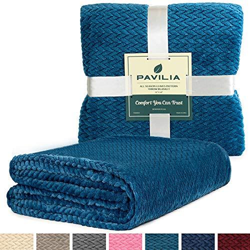PAVILIA Luxury Soft Plush Teal Throw Blanket for Sofa, Couch | Velvet Fleece Chevron Pattern Throw | Cozy Warm Lightweight Microfiber, Reversible Sea Blue Blanket | All Season Use | 50 x 60 Inches