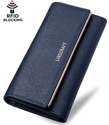 Womens Walllet RFID Blocking Trifold Leather Wallet Credit Card Holder (Womens Tri Fold)