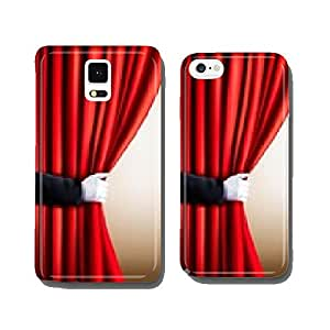 Hand in a white glove pulling curtain away. Theater. Vector. cell phone cover case iPhone6