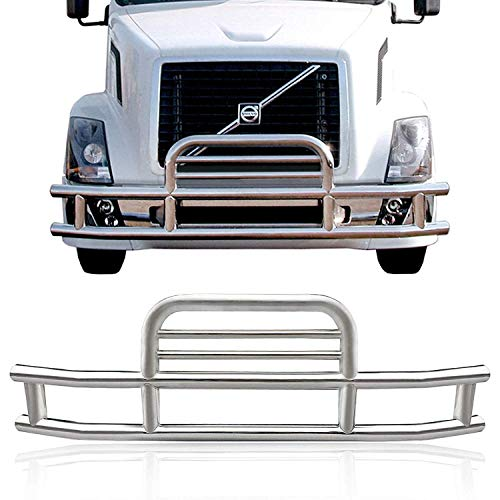 VZ4X4 Deer Guard Grill Guard Semi Truck Tube Bumper Stainless Steel for Volvo VNL with Bracket Set 2004-2017 ()