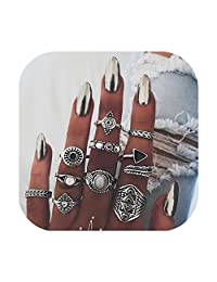 ZEALMER Knuckle Ring Set Vintage Carving Flower Turquoise Arrow Moon Boho Stackable Rings for Women