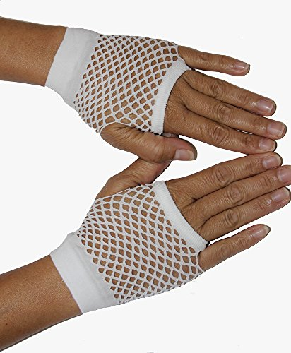 Be Wicked Women's Wrist Length Fingerless Fishnet Gloves, White, One Size