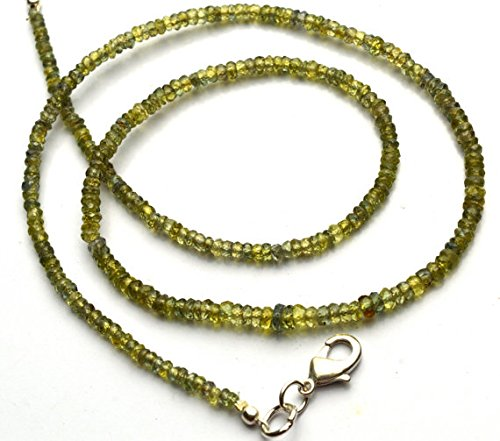 JP_Beads 1 Strand Natural Yellowish Green Sapphire 3 to 4MM Facet Rondelle Bead 16