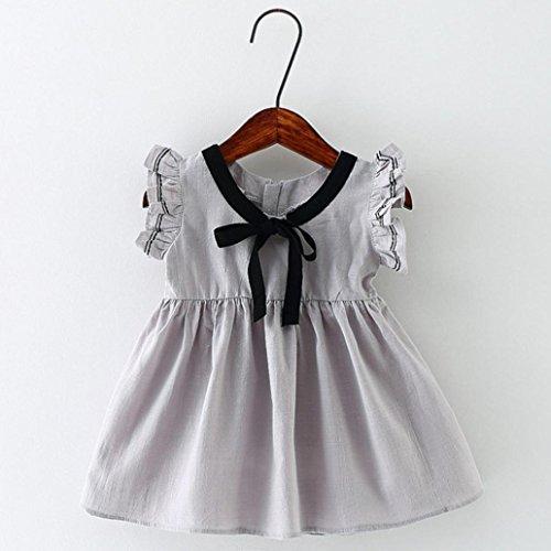 Tefamore Kleinkind Kinder Baby Mädchen Sleeveless Bowknot Kleidung Party Prinzessin Kleider Grau