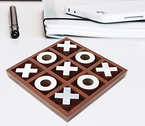 Hind Handicrafts Classic Handmade Vintage Wooden Tic Tac Toe Brass Inlay Game Set / Birthday Gift / Antiques Collectibles / Travel Game (5.5x5.5x1 inch) by Hind Handicrafts