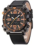 Lantern Shark SH127 - Mens Sport Watch Date Day Display Alram Stopwatch Black Leather Strap