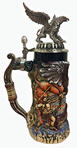 Hunters and Griffin with 3D Pewter Lid LE German Stoneware Beer Stein .75 L by Pinnacle Peak Trading Company (Image #1)