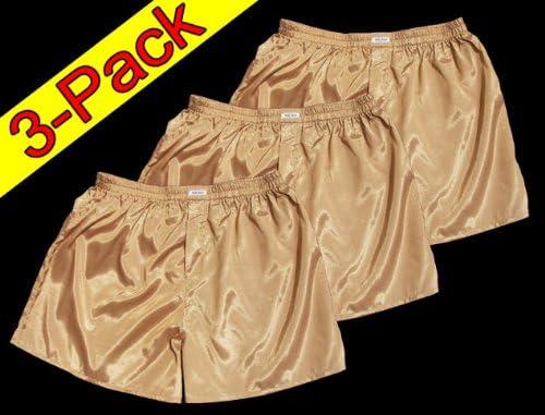 XL) Oro 3 Pack Boxer – Bañador Boxer Pantalones Cortos Hombre Ropa Interior satén Brillo Boxer Short: Amazon.es: Deportes y aire libre