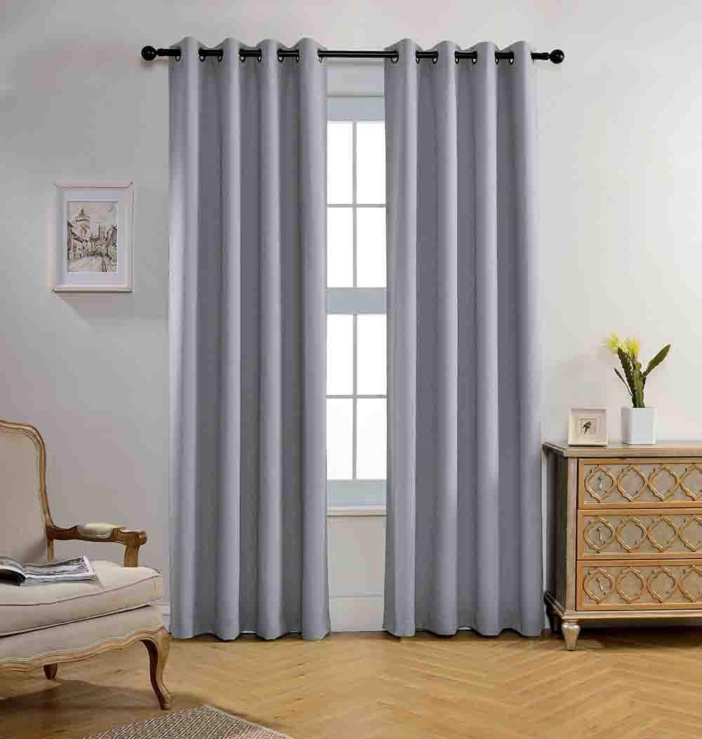 Miuco Room Darkening Textured Grommet Thermal Insulated Blackout Curtains for Doors Set of 2 52x95 Inch Long Silver 52x95 Inch Silver