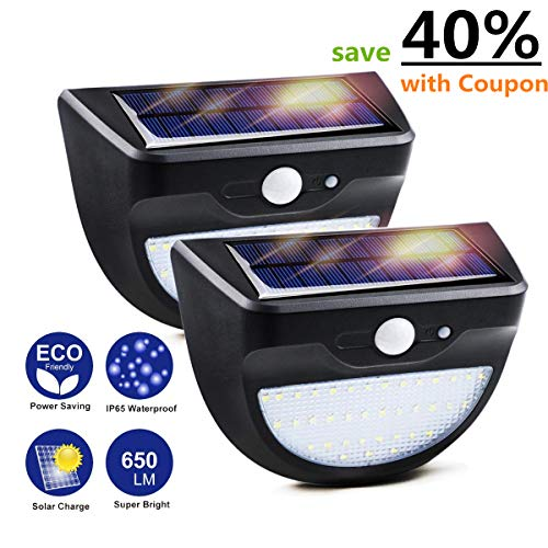 YMTC Solar Lights Outdoor,650LM 37 LEDs Super Bright Motion Sensor Light,3 Modes & Dusk to Dawn Auto On/Off,Waterproof Security Lighting Garden Fence Wall Porch Deck (2 Pack)