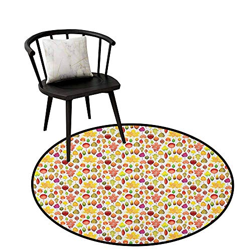 "Round Area Rugs Living Room Carpet Autumn,Collection Lively Colored Leaves of Various Different Trees Fall Season Woodland, Multicolor,Round Entryway Rug Floor Mats Welcome Mat Living Room Rug 32""inch"