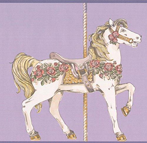 Beige White Ornated Horse Carousel Purple Wallpaper Border Retro Design, Roll 15'x9
