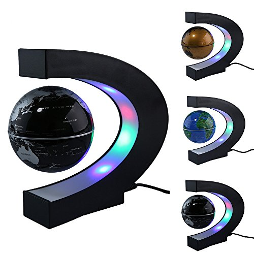 "Efanr Magnetic Levitation Floating World Map Globe C Shape Base, 3.5"" Rotating Planet Earth Ball Anti Gravity with LED Light Lamp- Educational Gifts for Kids, Home Office Desk Decoration (Black)"