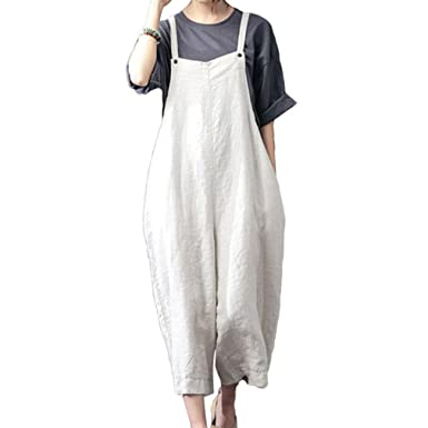 f7e8ee12a982 Hibote Women s Linen Cotton Overalls Baggy Strap Sleeveless Jumpsuits with  Pockets Casual Loose Wide Leg Dungarees