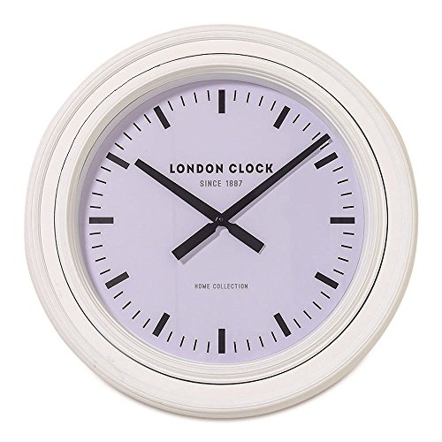 WHW Whole House Worlds Classic Analog White Wall Clock, London 1887, Home Collection, Over 2 Ft Diameter Quartz Movement, Requires 1 AA Battery (Not Included)