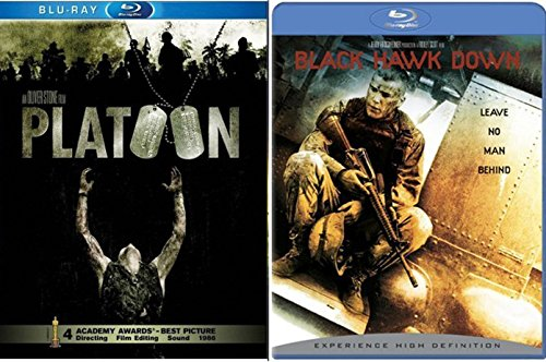 Platoon Double Feature + Black Hawk Down Blu Ray 2 Pack War Movie Action Set