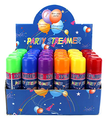 Streamer String Silly (24 Pack of Party Streamer Spray String in a Can Children's Kid's Party Supplies, Perfect for Parties/Events)