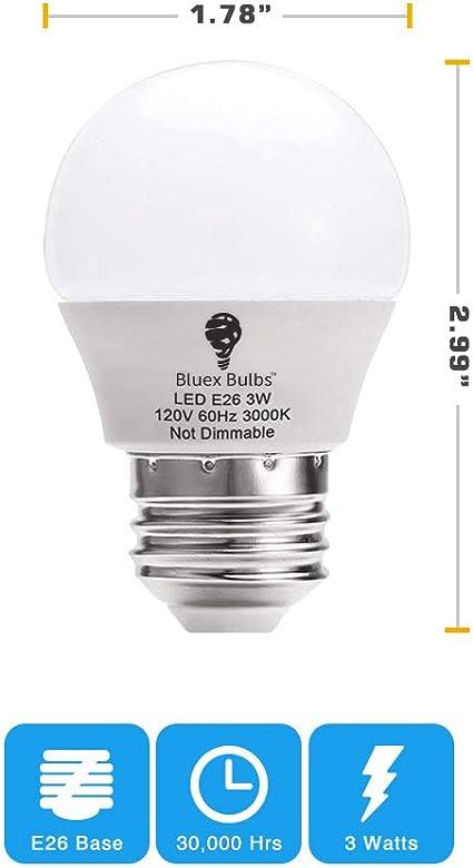 Amazon.com: Paquete de 8 bombillas LED BlueX de 3 W G14 ...