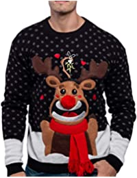 Men's Christmas Fuzzy Reindeer Ugly Sweater for Holiday or Birthday Gift