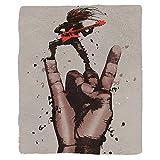 VROSELV Custom Blanket Fantasy Art House Musician Bass Guitarist with Rock N Roll Gesture Heavy Metal Image Soft Fleece Throw Blanket Coral Brown