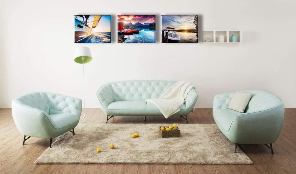 Piy Painting Cuadro en Lienzo del Paisaje Azul Lago Barco 3X Pinturas murales Decoración Impresiones de Lienzo Lindo Arte de Marco Listo para Colgar ...