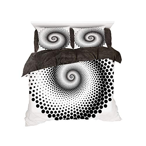 (Flannel 4 Piece Cotton Queen Size Bed Sheet Set for bed width 5ft Winter Holiday Pattern by,Abstract,Black Dots Forming a Spiral Shape Monochrome Circle Twist Optical Art Elements Decorative,Black Whi)