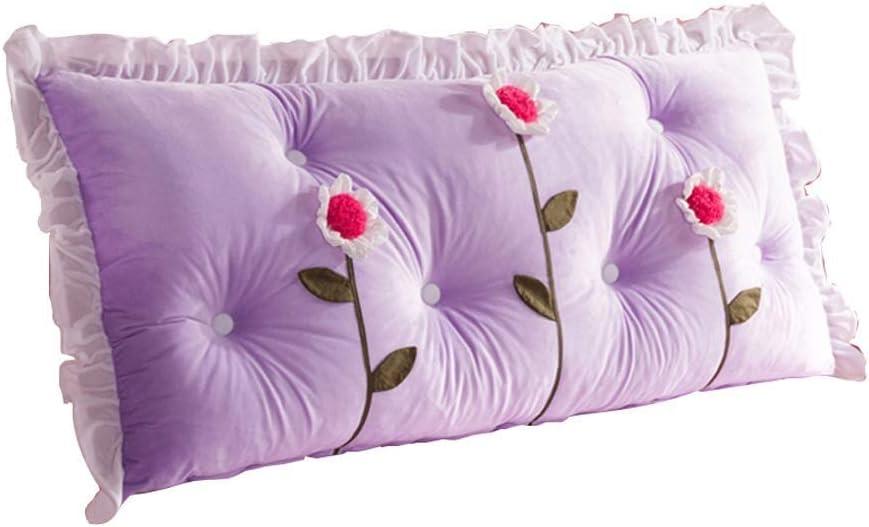 ベッドクッション、ソフトバッグダブルロングバックレスト、位置決め補助具、読書シート、枕サイズ、洗える多機能、洗える4色、3サイズ(色:紫、サイズ:150 * 70 cm)