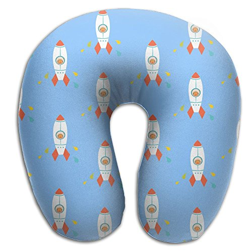 Laurel Neck Pillow Rocket Animated Picture Travel U-Shaped Pillow Soft Memory Neck Support for Train Airplane Sleeping ()
