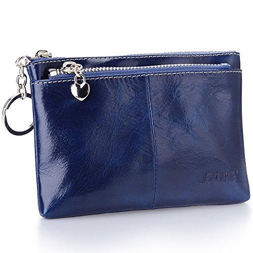 Wallet Blue Mini (S-ZONE Women's Genuine Leather Mini Wallet Change Coin Purse Card Holder with Key Ring (Blue))
