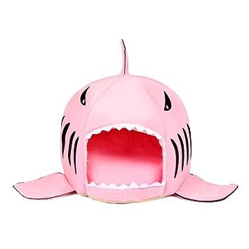 Jiobapiongxin Único Boca de tiburón en Forma de Mascotas Cama del Perro Suave cálida casa de