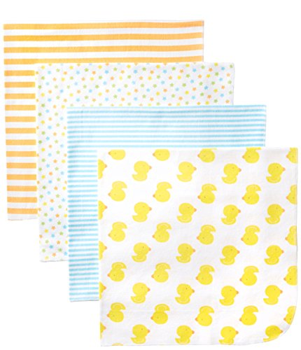 Duck Baby Bedding (Gerber Unisex-Baby Newborn 4 Pack Neutral Flannel Blanket- Ducks, Yellow, One Size)