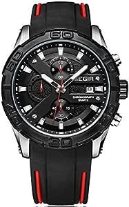 Megir Wrist Watch for Men, Silicone, MN2055GS-BK-1
