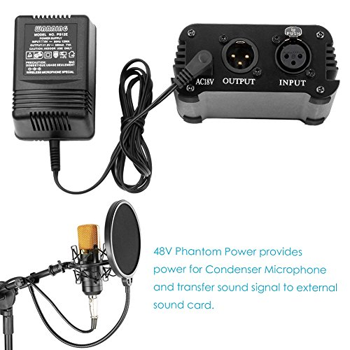 Neewer 1-Channel 48V Phantom Power Supply with Adapter, BONUS+XLR 3 Pin Microphone Cable for Any Condenser Microphone Music Recording Equipment (8 feet) - Image 2