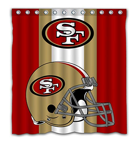 (Potteroy San Francisco 49ers Team Simple Design Shower Curtain Waterproof Polyester Fabric 66x72 Inches)