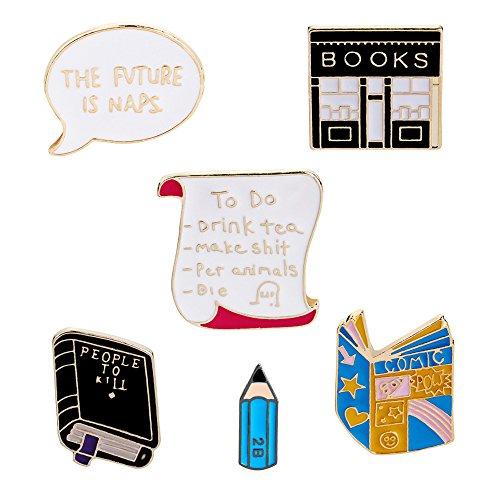 Lemoo Cute Enamel Lapel Pin Sets Carton Animal Brooch Pin (Reading Set of 6) ()