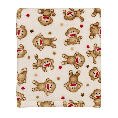 Baby Starters Super Soft Sock Monkey Printed Ivory Blanket, Stars ()