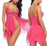 Susens Women Lingerie Nightwear Mesh Babydolls Lace Forky Chemises Nightie L Rose Red