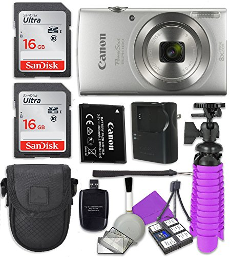 (Canon PowerShot ELPH 180 (Silver) with 20.0 MP CCD Sensor and 8X Optical Zoom with 2X Sandisk 16 GB SD Memory Cards + Tripod + Camera Case + Card Reader + Cleaning Kit)