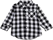 Toddler Baby Boys Girls Long Sleeve Casual Grey Plaid Shirt Top for Autumn Winter
